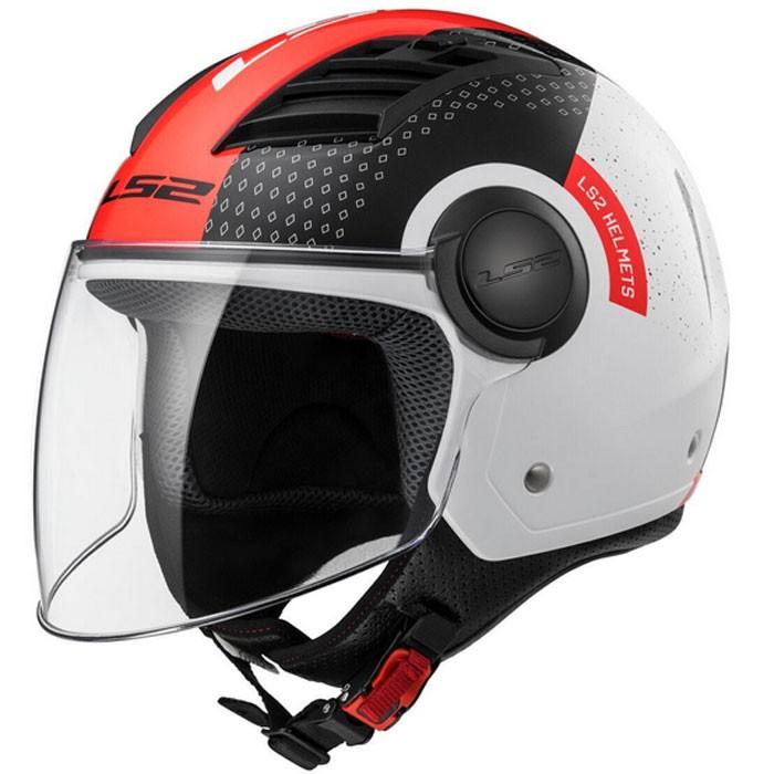 ls2 casque jet moto scooter of562 condor blanc rouge brillant. Black Bedroom Furniture Sets. Home Design Ideas