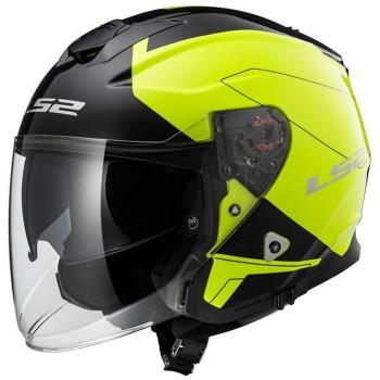 LS2 jet helmet moto scooter FIBER OF521.20 BEYOND gloss black fluo