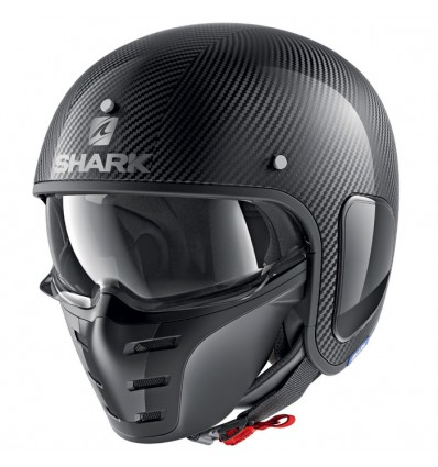 Shark Casque Jet Moto Scooter S Drak Carbon Skin Dsk Noir Brillant