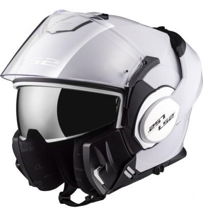 LS2 casque intégral modulable en jet FF399 VALIANT moto scooter blanc brillant