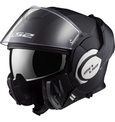 LS2 FF399 VALIANT modular in jet helmet moto scooter matt black