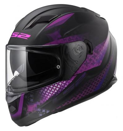 Ls2 Casque Moto Intégral Ff320 Stream Evo Lux Femme Noir Violet Mat