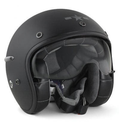 HARISSON casque jet moto scooter fibre noir mat - CA102