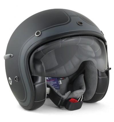 HARISSON casque jet moto scooter fibre noir-anthracite mat - CA112