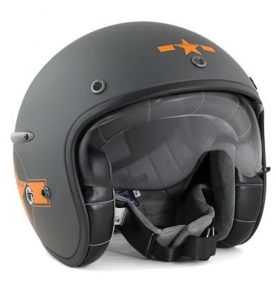 HARISSON casque jet moto scooter fibre gris-orange mat STAR DECO - CA123