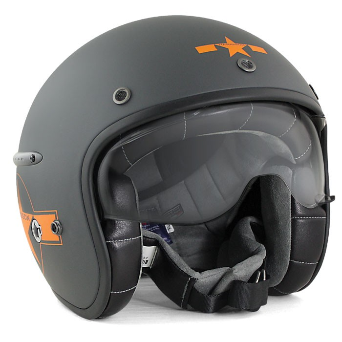 HARISSON tri composite fibber jet helmet moto scooter matt grey-orange STAR DECO - CA123