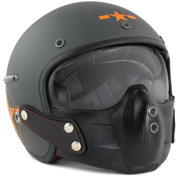 casque jet fibre moto scooter harisson chaft carbone gris orange mat. Black Bedroom Furniture Sets. Home Design Ideas