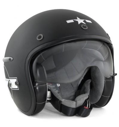 HARISSON casque jet moto scooter fibre noir-blanc mat STAR DECO - CA121