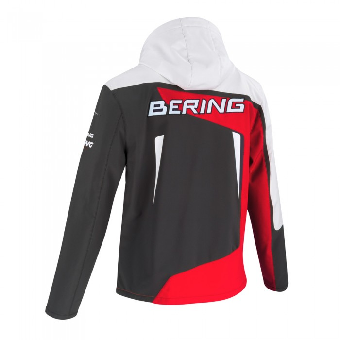0b9cc701e43 BERING veste SOFTSHELL froid moto scooter textile RACING SPORTSWEAR homme  blanc-rouge BTB809
