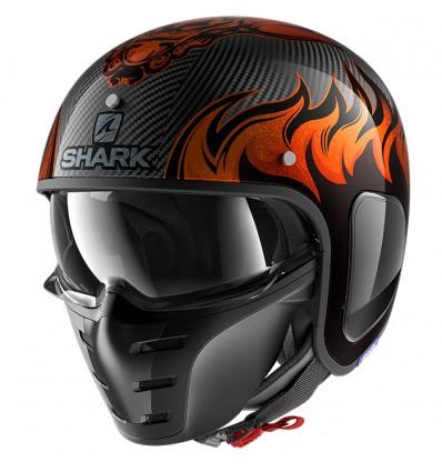 SHARK casque jet moto scooter S-DRAK CARBON DAGON DOO noir orange brillant