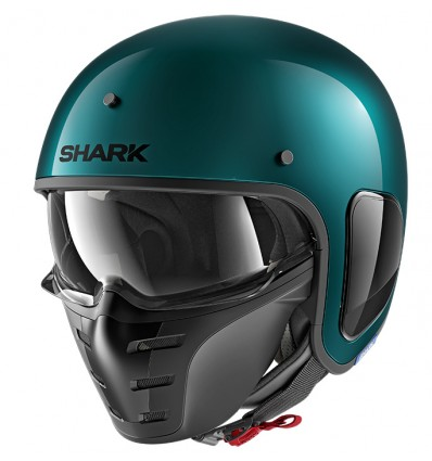 SHARK casque jet moto scooter S-DRAK FIBRE BLANK GGM vert brillant