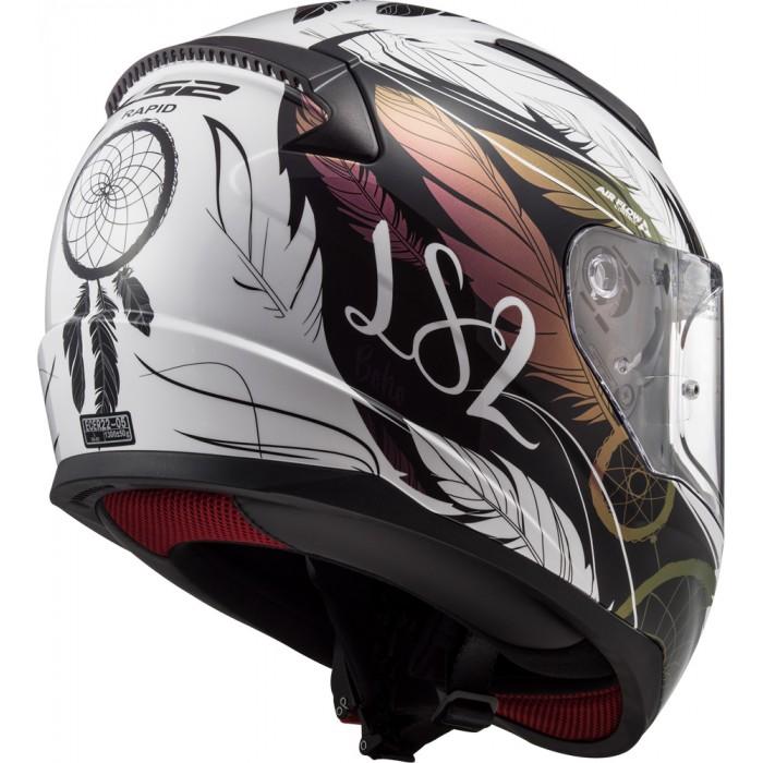 Ls2 Casque Intégral ff353 Rapid Boho Blanc Noir Rose Casque Moto Taille M 57//58