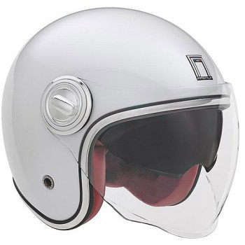 NOX casque jet vintage moto scooter HERITAGE blanc brillant