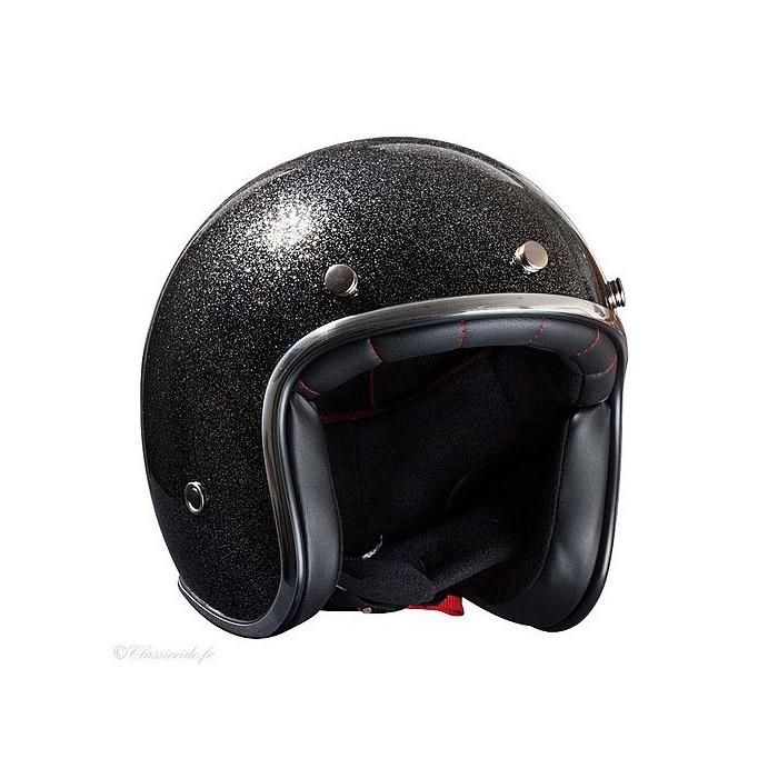 Nox Vintage Jet Helmet Moto Scooter N242 Glitter Glitter Black
