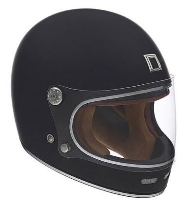 Nox Motorcycle Scooter Vintage Fiber Integral Helmet Revenge Matt Black