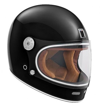 Nox Motorcycle Scooter Vintage Fiber Integral Helmet Revenge Gloss Black