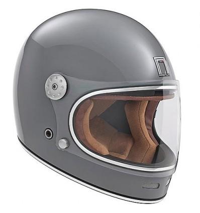 NOX casque intégral vintage FIBRE moto scooter REVENGE gris brillant