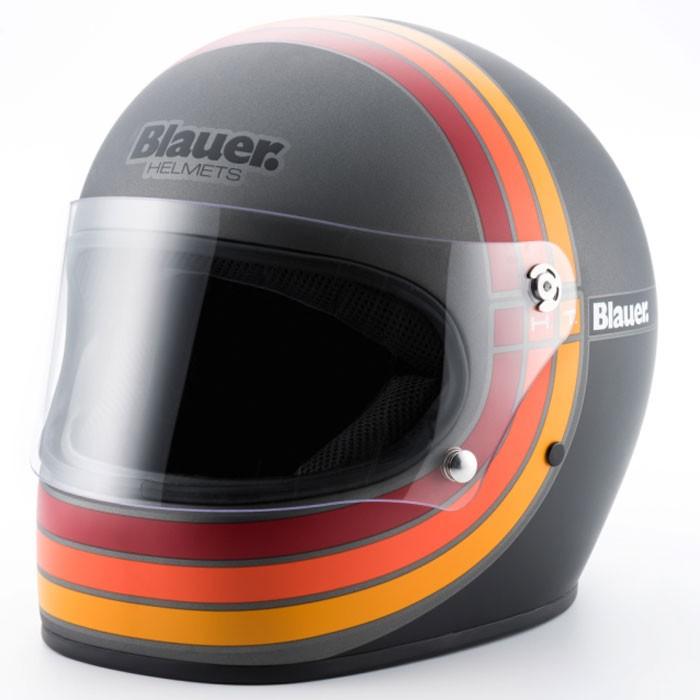 BLAUER casque intégral FIBRE moto scooter 80's titane noir mat