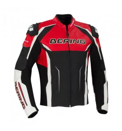 BERING blouson moto DRAXT R cuir RACING homme toutes saisons noir blanc rouge BCB431