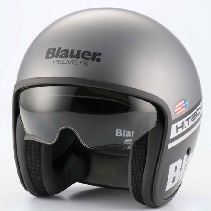 Blauer casque jet moto scooter PILOT fibre gris-noir mat