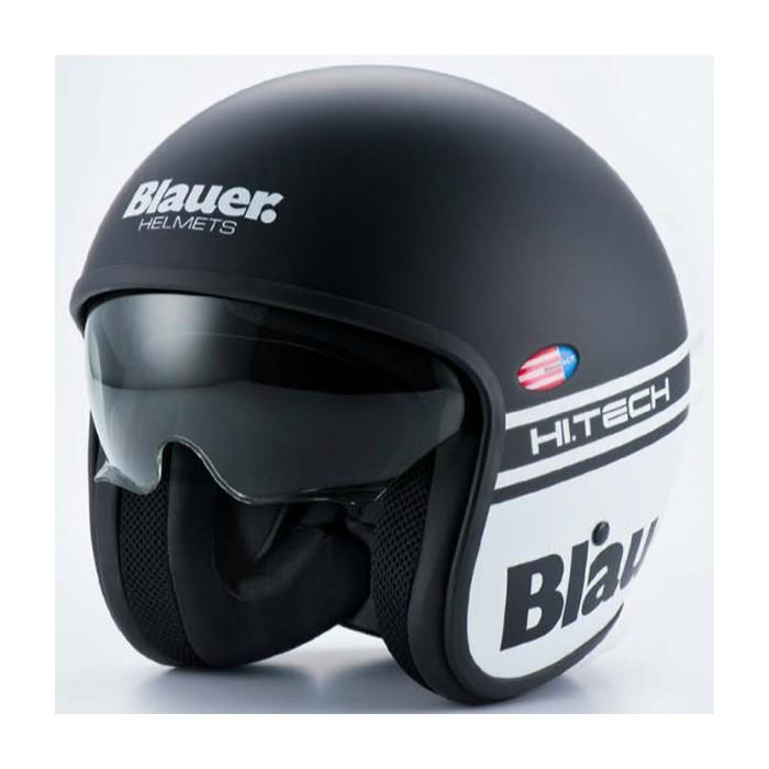 Blauer casque jet moto scooter PILOT fibre noir blanc mat