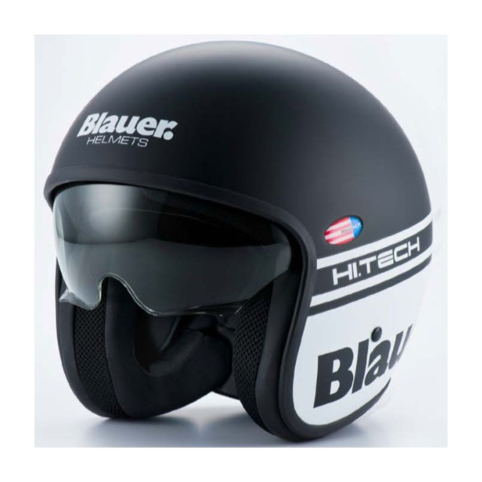 Blauer jet helmet moto scooter fiber PILOT matt black white