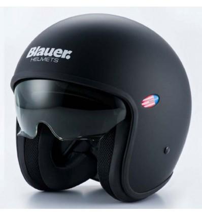 Blauer casque jet moto scooter PILOT fibre uni noir mat