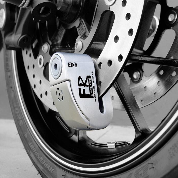 chaft fr securite antivol bloque disque moto scooter avec alarme fr14 inox sra av241. Black Bedroom Furniture Sets. Home Design Ideas