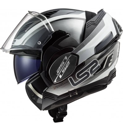 LS2 FF900 VALIANT II ORBIT JEANS modular in jet helmet moto scooter gloss silver black white
