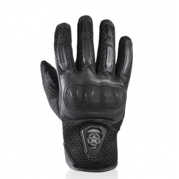 HARISSON Lady LEADER EVO leather & textile woman summer motorcycle scooter RACING gloves EPI black