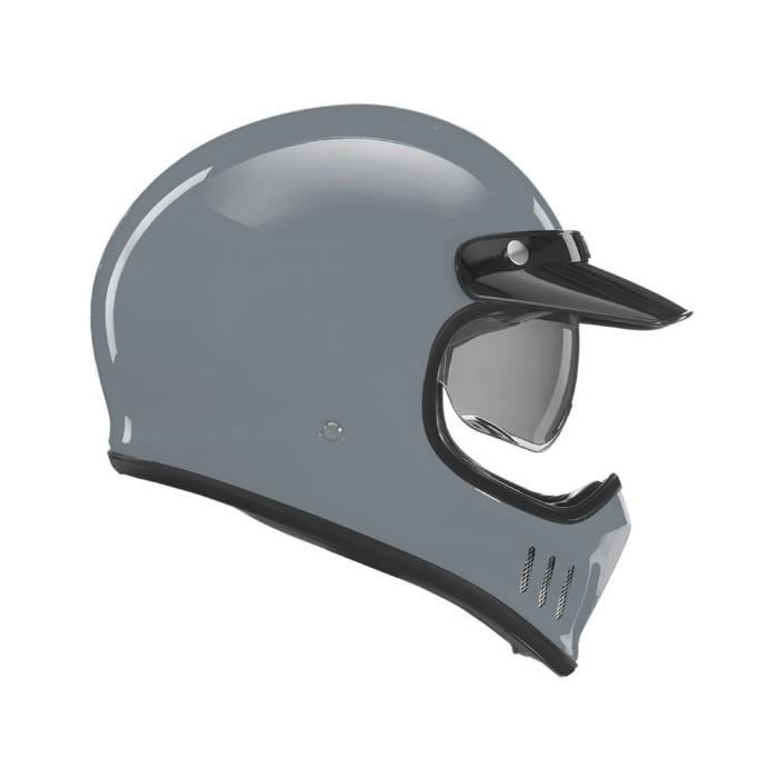 NOX casque intégral cross vintage moto scooter SEVENTY gris nardo brillant