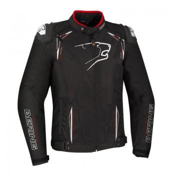 BERING blouson moto racing START-R textile homme toutes saisons étanche noir-blanc-rouge BTB1091
