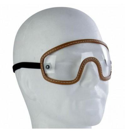 CHAFT paire de lunettes pour casque jet rétro moto scooter en cuir marron