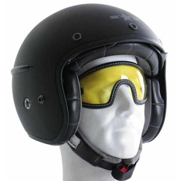 chaft paire de lunettes pour casque jet r tro moto scooter en cuir marron. Black Bedroom Furniture Sets. Home Design Ideas