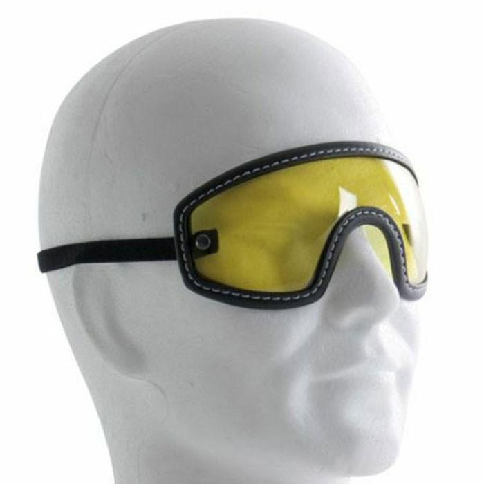 chaft paire de lunettes pour casque jet r tro moto scooter en cuir noir. Black Bedroom Furniture Sets. Home Design Ideas